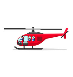cartoon helicopter with passengers pilot vector image