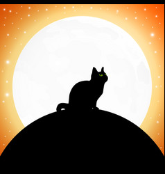 Cat on background full moon for vector