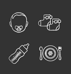 childcare chalk icons set vector image
