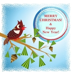 Christmas card with branch vector
