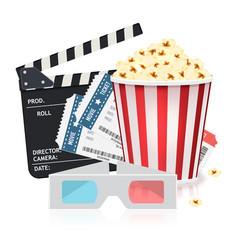 cinema set with popcorn bucket tickets 3d vector image