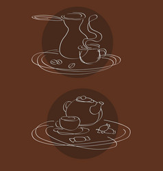 coffee and tea serving logo vector image