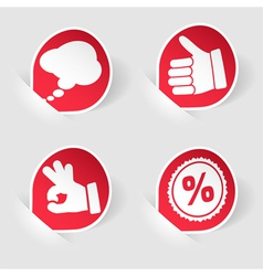 collect sticker with hand speech bubble and stamp vector image