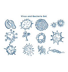 Collection virus and bacteria germs design vector