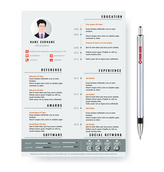creative minimalist cv resume template with vector image