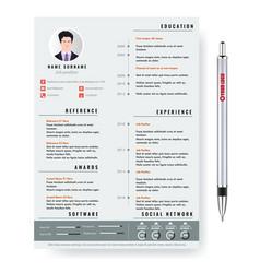 Creative minimalist cv resume template with vector