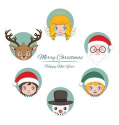 Cute jolly christmas character avatars vector