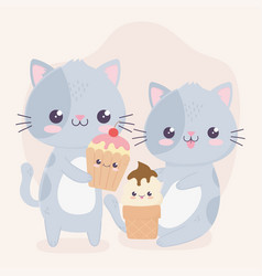 cute little cats with ice cream and cupcake kawaii vector image