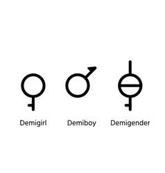Demiboy demigirl and demigender gender symbols vector