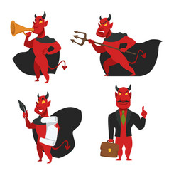Demon or devil in cloak with horns and tail satan vector