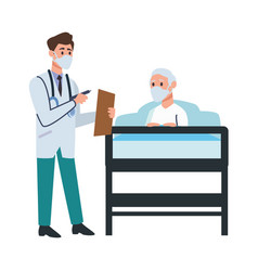 doctor attending old man in bed vector image