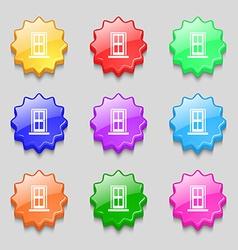 Door icon sign Symbols on nine wavy colourful vector image