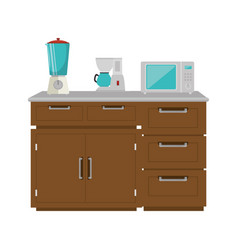 Drawer wooden with utensils vector