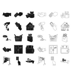 e-commerce and business blackoutline icons in set vector image