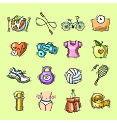 Fitness sketch colored icons set vector