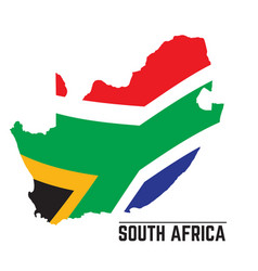 Flag and map of south africa vector