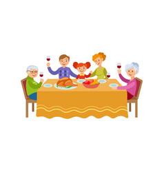 flat family celebrating christmas holiday vector image