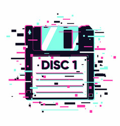 floppy disc with glitch effect information data vector image
