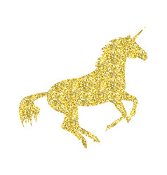 gold unicorn mythical horse vector image