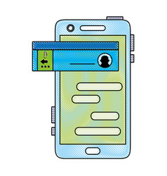 Grated smartphone with social chat bubble messages vector