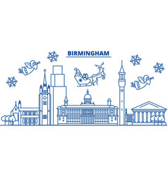 Great britain birmingham winter city skyline vector