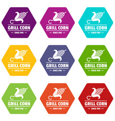 Grill corn icons set 9 vector