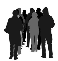 Group people waiting in line silhouette vector
