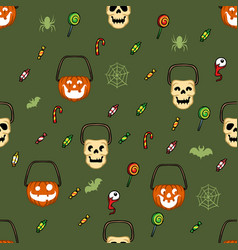 Halloween candy basket pattern vector