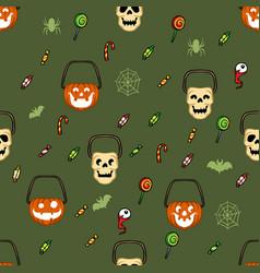 Halloween candy basket pattern vector