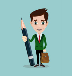 Handsome businessman with pencil vector