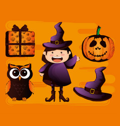 happy halloween card set icons vector image