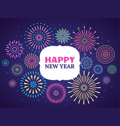 happy new year firework poster celebration 2019 vector image