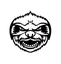 head angry sloth front view mascot retro black vector image