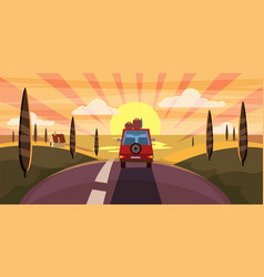 highway travel summer sunset sea road car vector image