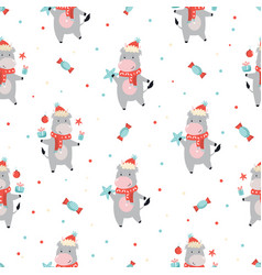 holiday seamless pattern with cute cows vector image
