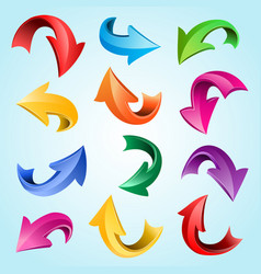 isolated colorful curved 3d glossy arrow icons vector image