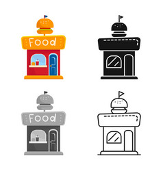 Isolated object kiosk and burger icon vector