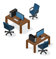 isometric workplace with computer vector image