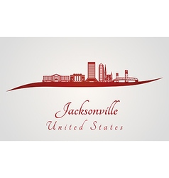 Jacksonville skyline in red vector