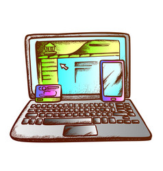 Laptop smartphone bank online card retro vector