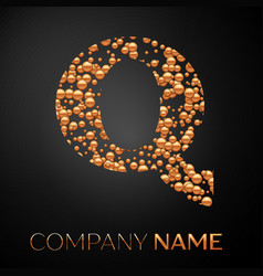 letter q logo gold dots alphabet logotype vector image