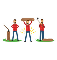 Man lumberjack in check shirt carrying wood vector