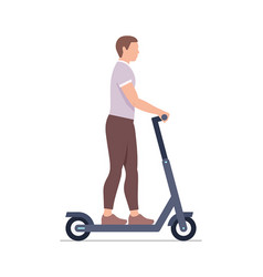 man riding an electric scooter vector image