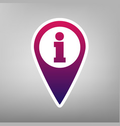 map pointer with information sign purple vector image