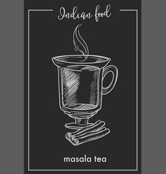 masala tea with cinnamon in glass cup from indian vector image