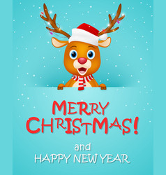 merry christmas background with reindeer vector image