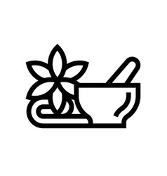 mortar and pestle with flower spa salon vector image