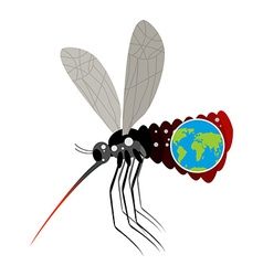 Mosquito Virus Zika Big mosquito overtook planet vector