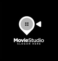 Movie studio logo design template vector