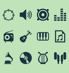 Music icons set collection of equalizer tuner vector